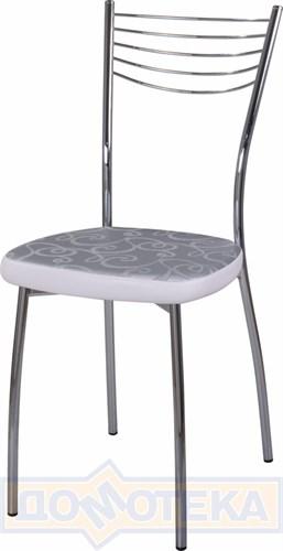 Стул кухонный Омега-1 Д-1/В-0 серебристый с узором/искрящийся белый, повышенной комфортности - фото 4896