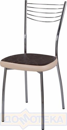 Стул кухонный Омега-1 Д-4/В-1 коричневый (темная бронза) с узором/бежевый, повышенной комфортности - фото 4900
