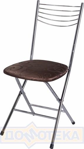 Стул кухонный Омега-1 скл. Д-4 коричневый (темная бронза) с узором - фото 4942