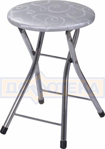 Кухонный табурет Соренто Д-1 серебристый с узором - фото 5245