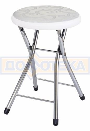 Кухонный табурет Соренто Д-1/В-0 серебристый с узором/искрящийся белый, повышенной комфортности - фото 5246