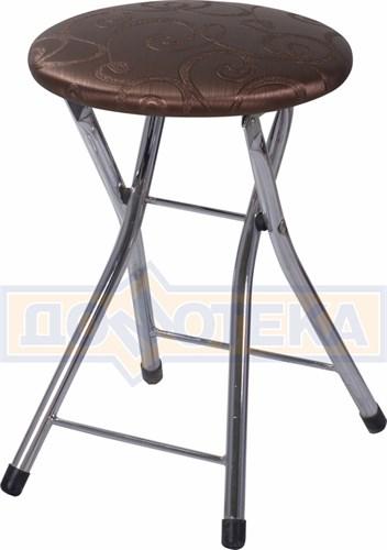 Кухонный табурет Соренто Д-4 коричневый (темная бронза) с узором - фото 5251