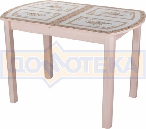 Стол со стеклом - Танго ПО-1 МД ст-72 04 МД ,молочный дуб - фото 6336