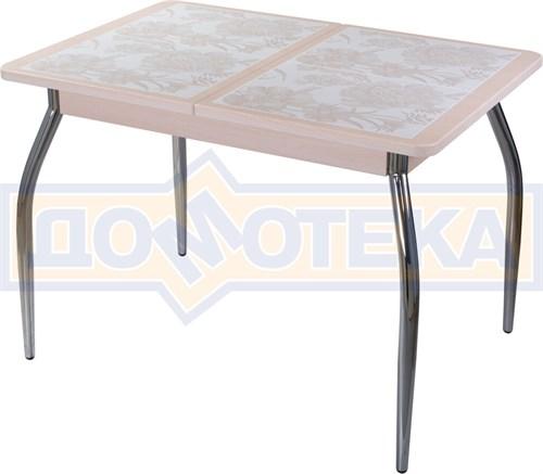 Стол кухонный Каппа ПР ВП МД 01 пл 32, молочный дуб, плитка с цветами - фото 6794