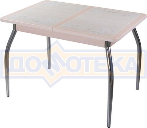 Стол кухонный Каппа ПР ВП МД 01 пл 42, молочный дуб, бежевая плитка с сакурой - фото 6795