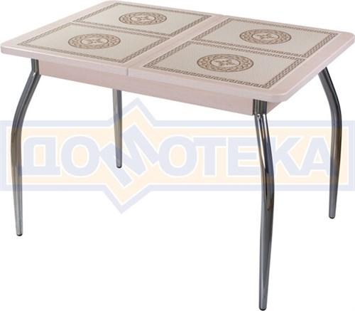 Стол кухонный Каппа ПР ВП МД 01 пл 52, молочный дуб, плитка с греческим орнаментом - фото 6797