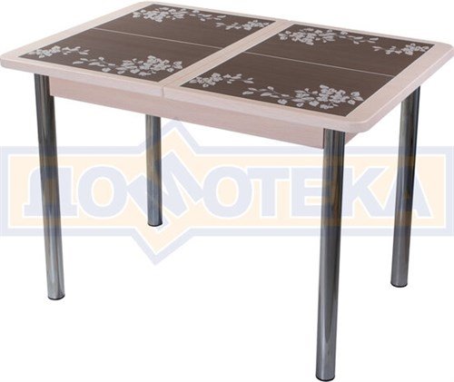 Стол кухонный Каппа ПР ВП МД 02 пл 44, молочный дуб, коричневая плитка с сакурой - фото 6800
