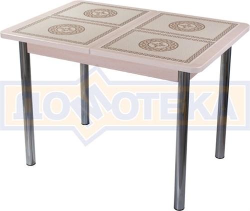 Стол кухонный Каппа ПР ВП МД 02 пл 52, молочный дуб, плитка с греческим орнаментом - фото 6801