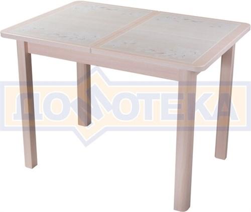 Стол кухонный Каппа ПР ВП МД 04 МД пл 42, молочный дуб, бежевая плитка с сакурой - фото 6803