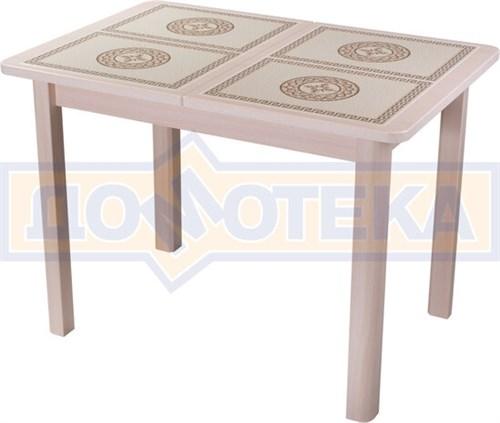 Стол кухонный Каппа ПР ВП МД 04 МД пл 52, молочный дуб, коричневая плитка с сакурой - фото 6804