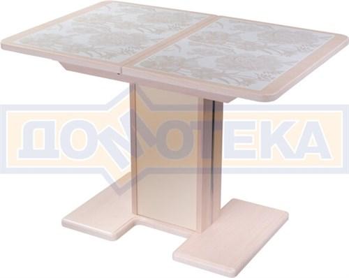 Стол кухонный Каппа ПР ВП МД 05 МД/КР пл 32, молочный дуб, плитка с цветами - фото 6806