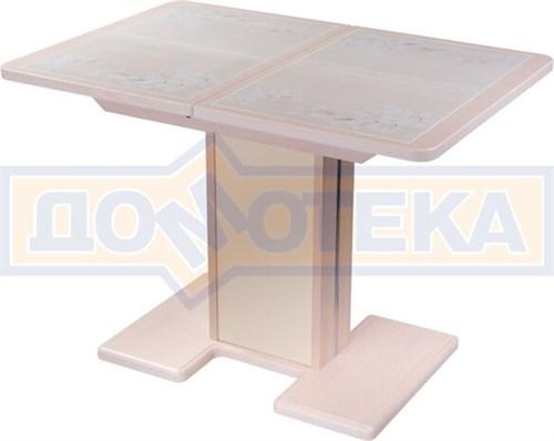 Стол кухонный Каппа ПР ВП МД 05 МД/КР пл 42, молочный дуб, бежевая плитка с сакурой - фото 6807