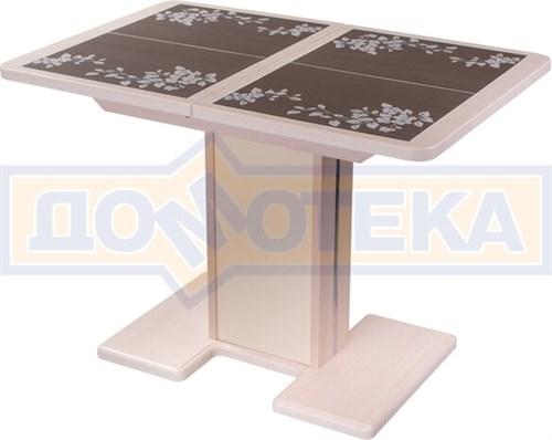 Стол кухонный Каппа ПР ВП МД 05 МД/КР пл 44, молочный дуб, коричневая плитка с сакурой - фото 6808