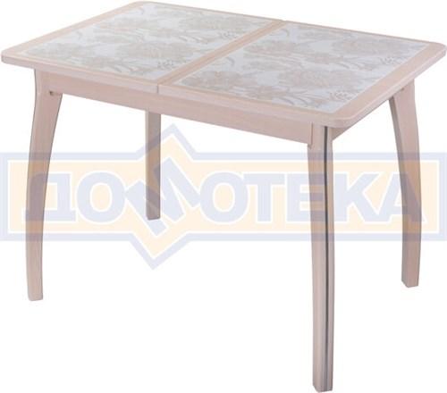Стол кухонный Каппа ПР ВП МД 07 ВП МД пл 32, молочный дуб, плитка с цветами - фото 6810