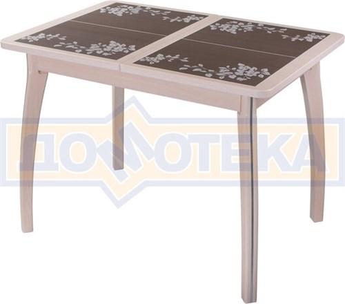 Стол кухонный Каппа ПР ВП МД 07 ВП МД пл 44, молочный дуб, коричневая плитка с сакурой - фото 6812