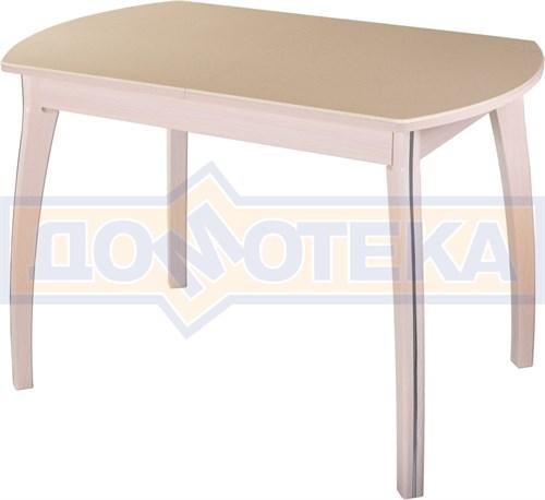 Стол обеденный  Румба ПО-1 КМ 06 МД 07 ВП МД, молочный дуб, камень песочного цвета - фото 6829