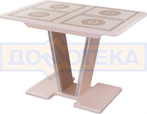 Стол с плиткой - Каппа ПР ВП МД 03 МД/КР пл 52, молочный дуб, плитка с греческим орнаментом - фото 6887