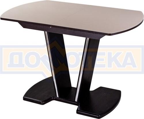 Стол со стеклом Танго ПО-1 ВН ст-КР 03-1 ВН, венге, стекло кремового цвета - фото 6904