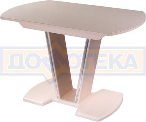 Стол со стеклом - Танго ПО-1 МД ст-КР 03-1 МД, молочный дуб, стекло кремового цвета - фото 6905