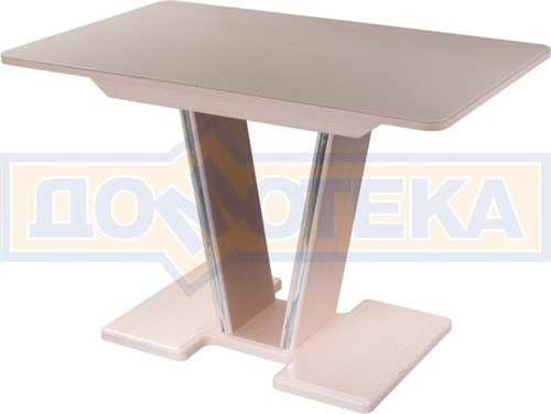 Стол со стеклом - Танго ПР-1 МД ст-КР 03-1 МД, молочный дуб, стекло кремового цвета - фото 6909
