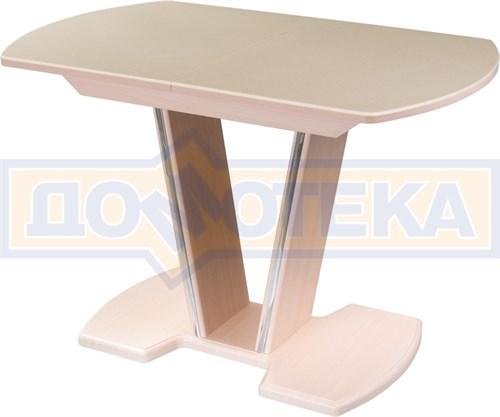 Стол с камнем - Румба ПО-1 КМ 06 МД 03-1 МД, молочный дуб, камень песочного цвета - фото 6913