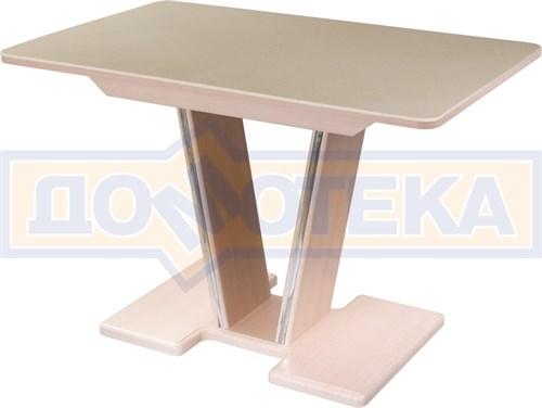 Стол с камнем - Румба ПР-1 КМ 06 МД 03-1 МД, молочный дуб, камень песочного цвета - фото 6917