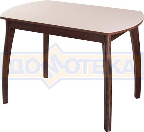Столы со стеклом Танго ПО ОР ст-КР 07 ВП ОР, орех/закаленное стекло кремового цвета - фото 6993