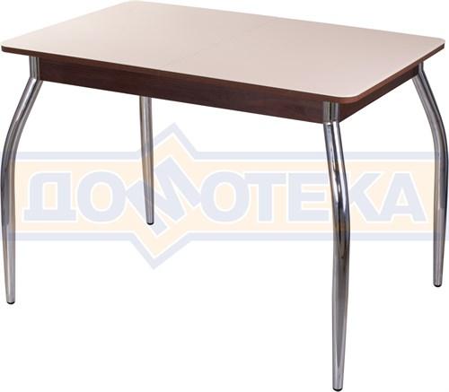 Столы со стеклом Танго ПР ОР ст-КР 01, орех/закаленное стекло кремового цвета - фото 6994