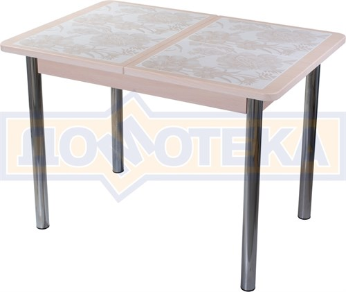 Стол кухонный Каппа ПР ВП МД 02 пл 32, молочный дуб, плитка с цветами - фото 7009