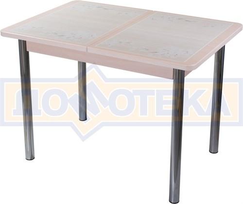 Стол кухонный Каппа ПР ВП МД 02 пл 42, молочный дуб, бежевая плитка с сакурой - фото 7039