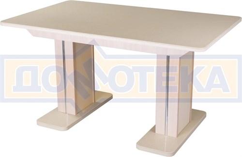 Обеденный стол с камнем Румба ПР-2 КМ 06 МД 05-2 МД/КР КМ 06, молочный дуб/камень песочного цвета - фото 7212