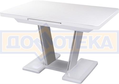 Обеденный стол с камнем Реал ПР-1 КМ 04 БЛ 03-1 БЛ, белый/камень белого цвета - фото 7241