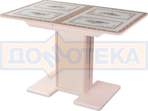 Стол кухонный Танго ПР МД ст-72 05 МД/КР, молочный дуб, растительный орнамент - фото 7258