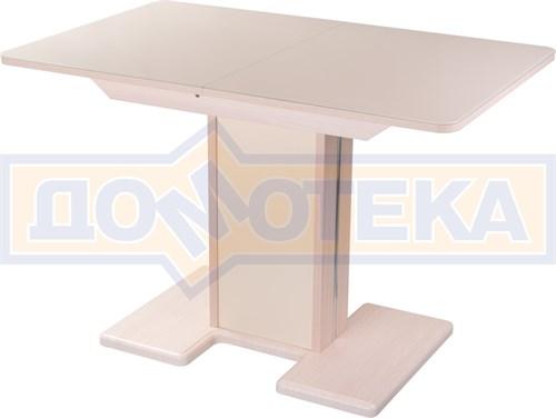 Стол кухонный Танго ПР МД ст-КР 05 МД/КР, молочный дуб, стекло кремового цвета - фото 7259