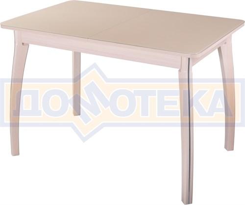Стол обеденный  Танго ПР-1 МД ст-КР 07 ВП МД, молочный дуб, стекло кремового цвета - фото 7263