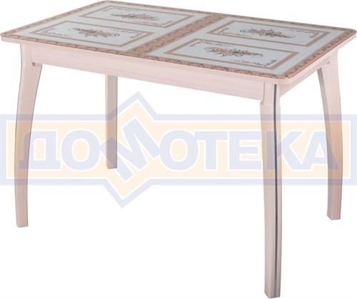 Стол обеденный  Танго ПР-1 МД ст-72 07 ВП МД, молочный дуб, растительный орнамент - фото 7264
