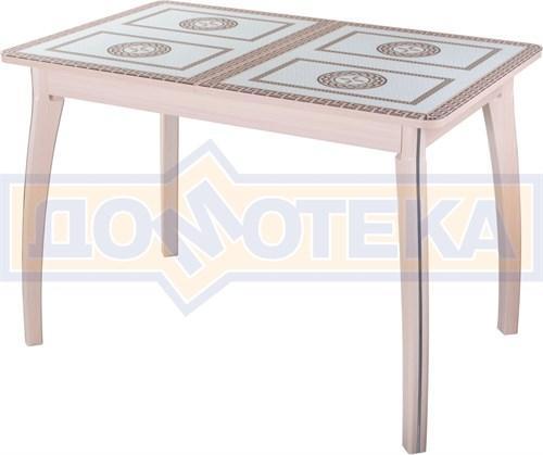 Стол обеденный  Танго ПР-1 МД ст-71 07 ВП МД, молочный дуб, греческий орнамент - фото 7265