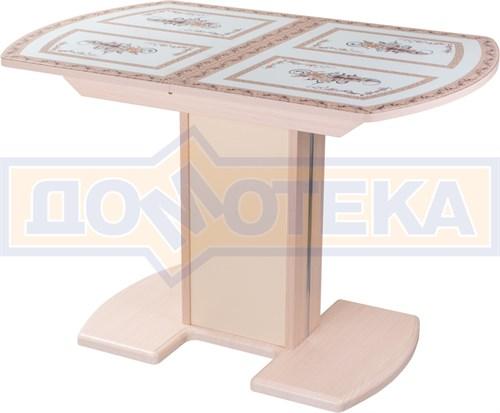 Стол кухонный Танго ПО МД ст-72 05 МД/КР, молочный дуб, растительный орнамент - фото 7267