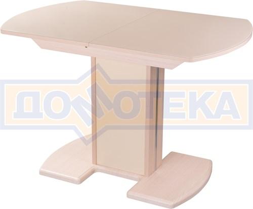 Стол кухонный Танго ПО МД ст-КР 05 МД/КР, молочный дуб, стекло кремового цвета - фото 7268