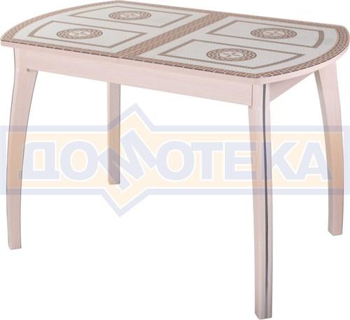 Стол кухонный Танго ПО МД ст-71 07 ВП МД, молочный дуб, греческий орнамент - фото 7269