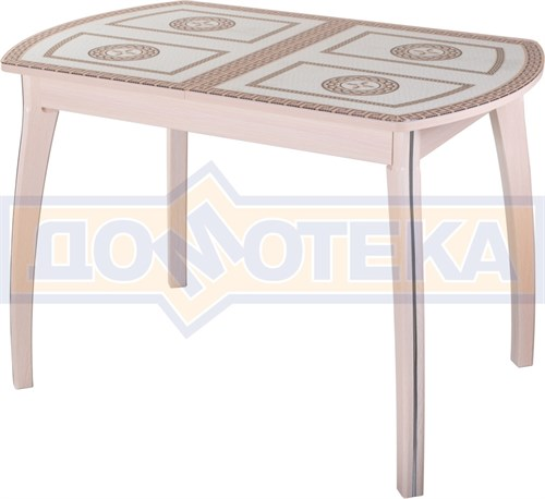 Стол обеденный  Танго ПО-1 МД ст-71 07 ВП МД, молочный дуб, греческий орнамент - фото 7270