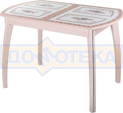 Стол обеденный  Танго ПО-1 МД ст-72 07 ВП МД, молочный дуб, растительный орнамент - фото 7271