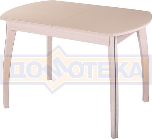 Стол обеденный  Танго ПО-1 МД ст-КР 07 ВП МД, молочный дуб, стекло кремового цвета - фото 7274