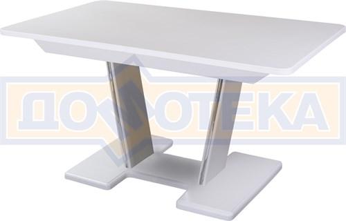 Обеденный стол с камнем Румба ПР-2 с центральной ножкой 04/БЛ 03-2 БЛ, белый/камень белого цвета - фото 7309
