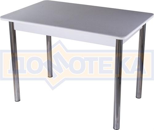 Столы с камнем Румба ПР-1 КМ 07 БЛ 02, искусственный камень серого цвета с белыми вкраплениями/белый - фото 8139