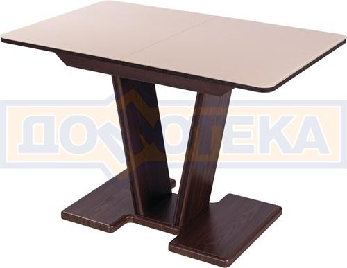 Стол кухонный Танго ПР ОР ст-КР 03 ОР, орех, стекло кремового цвета - фото 9330