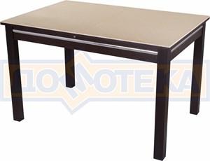 Стол обеденный прямоугольный Бета-1 КМ 06(6) ВН 08ВН венге с бежевым камнем