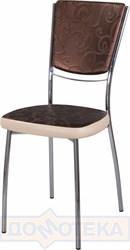 Стул кухонный Омега-5 Д-4/В-1 спД-4/В-1 коричневый (темная бронза) с узором/бежевый, повышенной комфортности