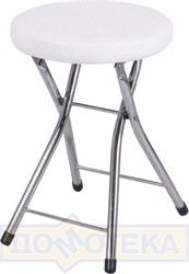 Кухонный табурет Соренто F-0/F-0 белый с плетеной текстурой, повышенной комфортности