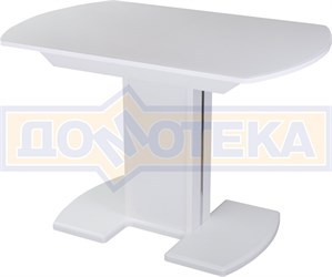 Стол со стеклом - Танго ПО БЛ ст-БЛ 05 БЛ/БЛ ,белый
